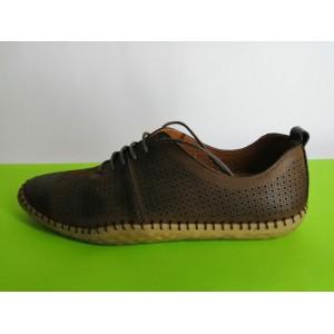 618 т.кафяво Мъжки летни обувки естествена кожа