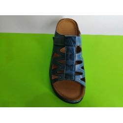062-синьо- KARYOKA кожени ортопедични чехли