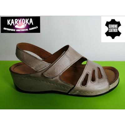 МОД:389 KARYOKA ортопедични ниски кожени сандали