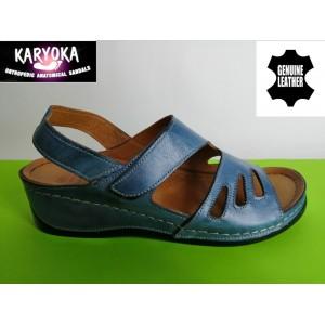 389-синьо KARYOKA ортопедични ниски кожени сандали