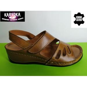 389-кафяво KARYOKA ортопедични ниски кожени сандали