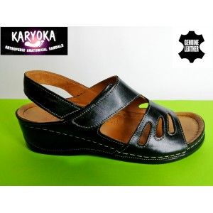 389-черно KARYOKA ортопедични ниски кожени сандали