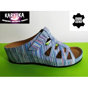 062-синьо райе- KARYOKA кожени ортопедични чехли
