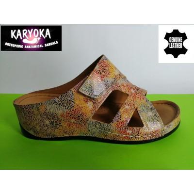Мод:059-т.бежово-KARYOKA кожени дамски чехли