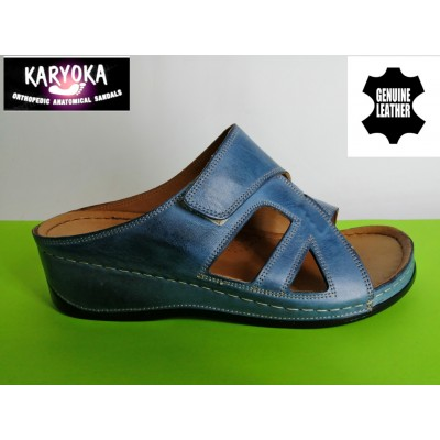 Мод:059-синьо-KARYOKA ортопедични кожени чехли