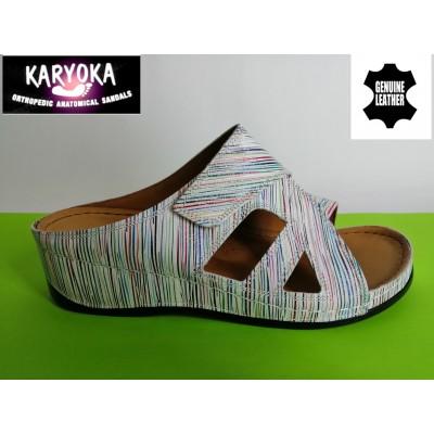 Мод:059-бяло рае-KARYOKA кожени ортопедични чехли