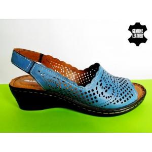 714-A-синьо Сандали 100% естествена кожа