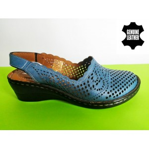 708A-синьо Сандали-100%естествена кожа
