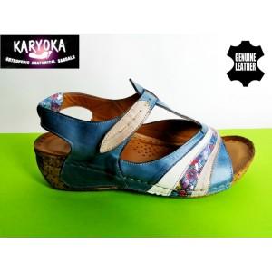 473-синьо-KARYOKA ниски ортопедични кожени сандали