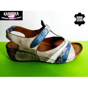 473-т.бежово-KARYOKA ниски ортопедични кожени сандали