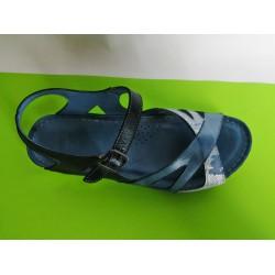 085E-синьо-KARYOKA ниски кожени сандали