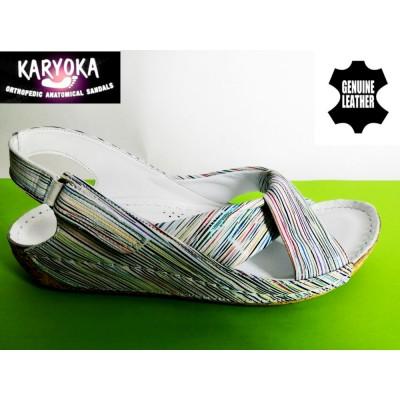 084-бяло райе-KARYOKA ниски ортопедични кожени сандали