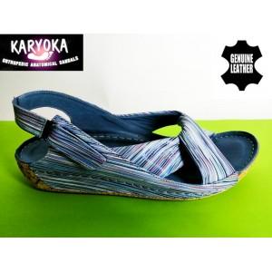 084-сини райе-KARYOKA ниски ортопедични кожени сандали