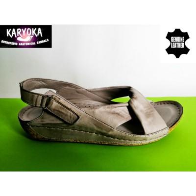 084-т.бежови-KARYOKA ниски ортопедични кожени сандали