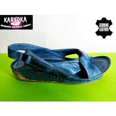 084-синьо-KARYOKA ниски ортопедични кожени сандали