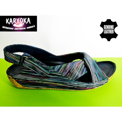 084-черно райе-KARYOKA ниски ортопедични кожени сандали