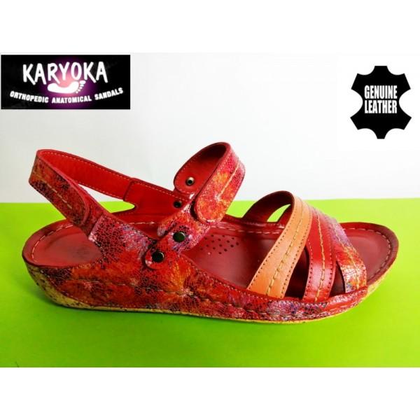 084-А-червено-KARYOKA ниски ортопедични кожени сандали