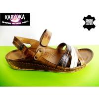 084 А-KARYOKA ниски ортопедични кожени сандали