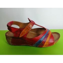 473-червено-KARYOKA ниски ортопедични кожени сандали