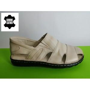 513-бежово Мъжки анатомични сандали от естествена кожа