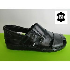 513-черно Мъжки анатомични сандали от естествена кожа