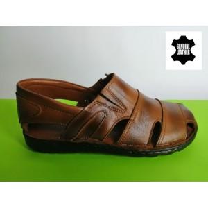 513-кафяво Мъжки анатомични сандали от естествена кожа