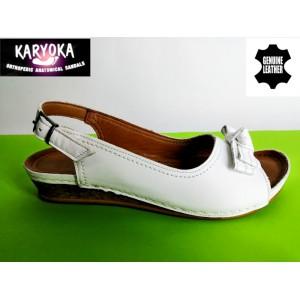 386-А-бяло KARYOKA ниски кожени сандали