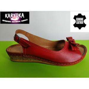 386-А-червено KARYOKA ниски кожени сандали