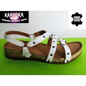087-А KARYOKA ниски ортопедични кожени сандали
