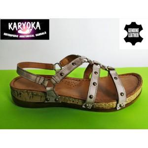 087А-т.бежово- KARYOKA ниски ортопедични кожени сандали