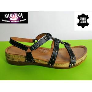 087А-черно-KARYOKA ниски ортопедични кожени сандали