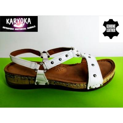 087 KARYOKA ниски ортопедични кожени сандали