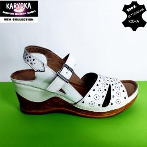 762-бяло-KARYOKA сандали естествена кожа