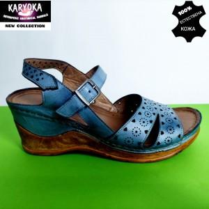 762-синьо-KARYOKA сандали естествена кожа
