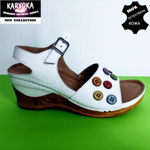 775-бял-KARYOKA сандали естествена кожа