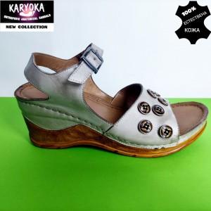 775-бежово-KARYOKA сандали естествена кожа
