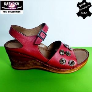 775-червено-KARYOKA сандали естествена кожа