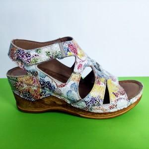 776-жълто-шарено-KARYOKA сандали естествена кожа