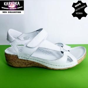 761-бяло-KARYOKA ниски ортопедични кожени сандали