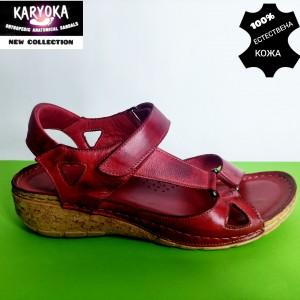 761-червено-KARYOKA ниски ортопедични кожени сандали