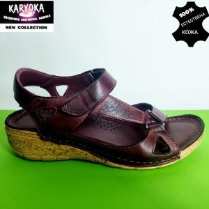 761-бордо-KARYOKA ниски ортопедични кожени сандали