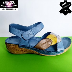 764-син-KARYOKA ниски анатомични кожени сандали
