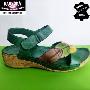 764-зелен-KARYOKA ниски анатомични кожени сандали