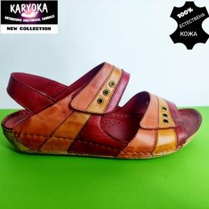 765-червено-KARYOKA ниски анатомични кожени сандали