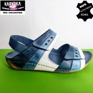 765-син-KARYOKA ниски анатомични кожени сандали