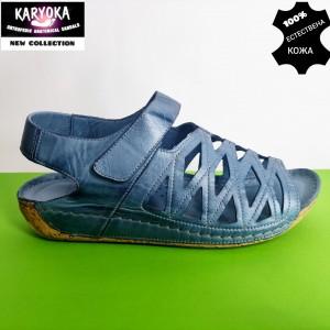 766-син-KARYOKA ниски анатомични кожени сандали