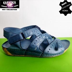 768-син-KARYOKA ниски анатомични кожени сандали