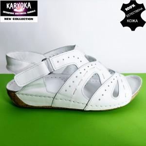 768-бял-KARYOKA ниски анатомични кожени сандали