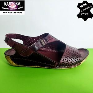 769-бордо-KARYOKA ниски анатомични кожени сандали