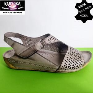 769-бежово-KARYOKA ниски анатомични кожени сандали